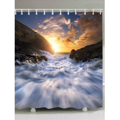Sunset Torrent Pattern Waterproof Bath Curtain