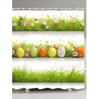 Eggs Grass Pattern Waterproof Bath Curtain