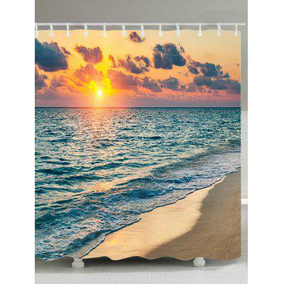 Sunset Seabeach Pattern Waterproof Bath Curtain