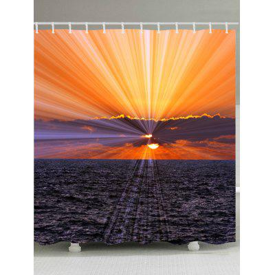 Sunset Ocean Print Waterproof Bath Curtain