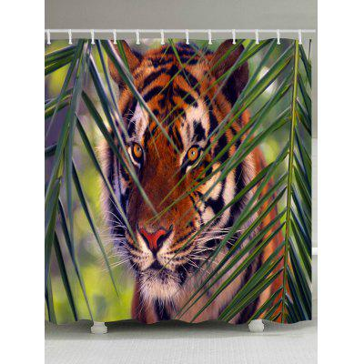 Tiger Print Waterproof Bath Curtain