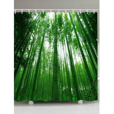 Bamboo Forest Pattern Waterproof Bath Curtain