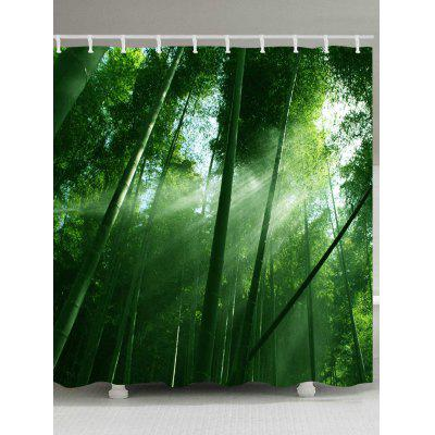Sunlight Bamboo Forest Pattern Waterproof Bath Curtain