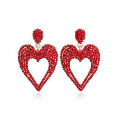 Alloy Rhinestoned Heart Drop Earrings