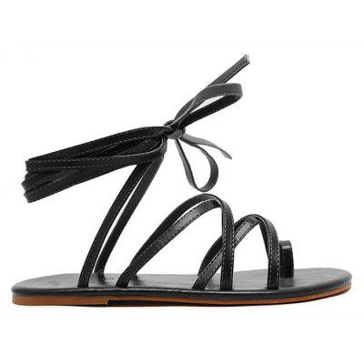 Gladiator Faux Leather Toe Ring Sandals