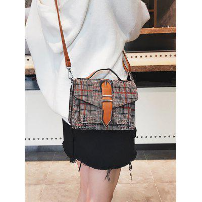 Plaid Buckled Flap Crossbody Bag buckled belt detail plaid top
