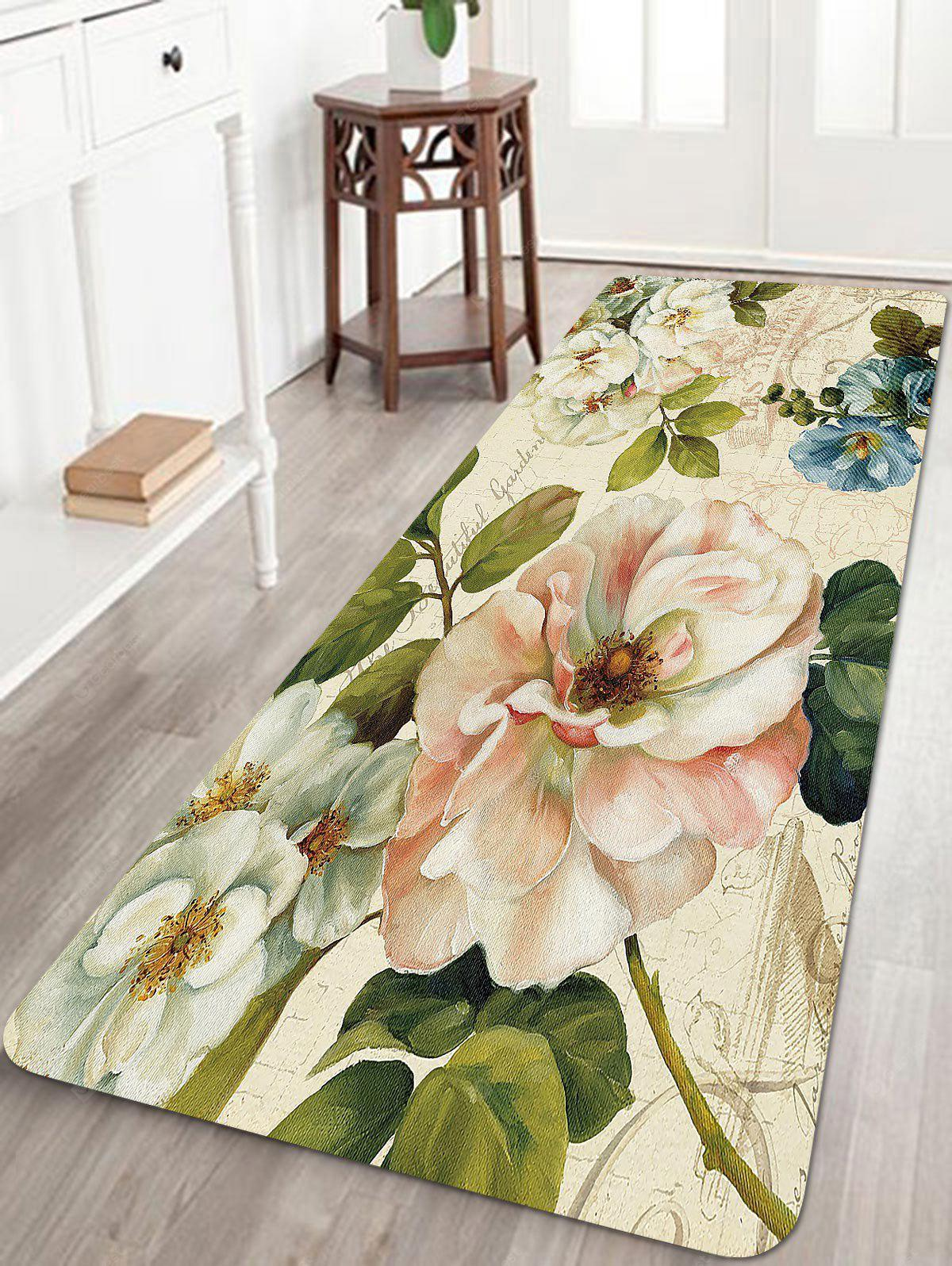 Retro Flowers Pattern Indoor Outdoor Area Rug