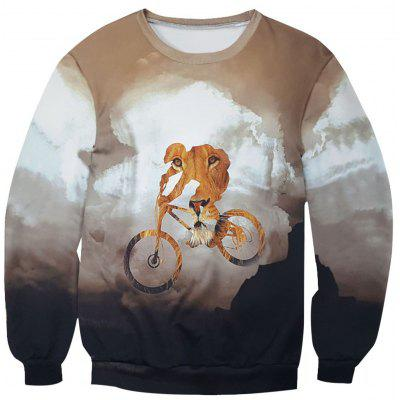 Lion Cyclist Print Sweatshirt with Ribbings