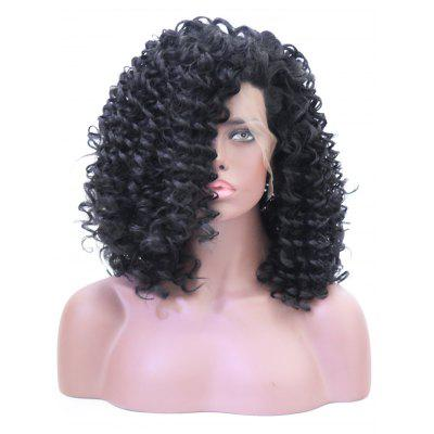 Long Side Bang Fluffy Curly Lace Front Synthetic Wig