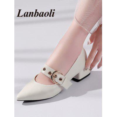Lanbaoli Chunky Heel Buckled PumpsWomens Pumps<br>Lanbaoli Chunky Heel Buckled Pumps<br><br>Embellishment: Buckle<br>Heel Height: 3.5CM<br>Heel Height Range: Low(0.75-1.5)<br>Heel Type: Chunky Heel<br>Occasion: Party<br>Package Contents: 1 x Pumps (pair)<br>Pumps Type: Mary Janes<br>Season: Spring/Fall<br>Shoe Width: Medium(B/M)<br>Toe Shape: Pointed Toe<br>Toe Style: Closed Toe<br>Upper Material: PU<br>Weight: 1.0660kg