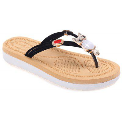 Buy Rhinestone Owl Pattern Thong Sandals BLACK 38 for $24.05 in GearBest store