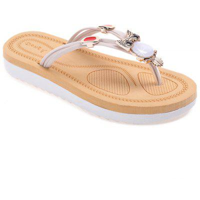 Buy Rhinestone Owl Pattern Thong Sandals BEIGE 37 for $24.05 in GearBest store