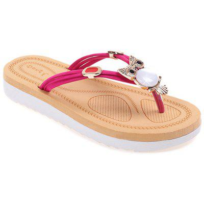 Buy Rhinestone Owl Pattern Thong Sandals HOT PINK 37 for $24.05 in GearBest store