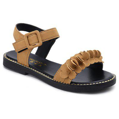Buckled PU Leather Flower Two Strap Sandals