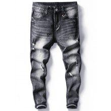 Faded Distressed Tapered Fit Jeans