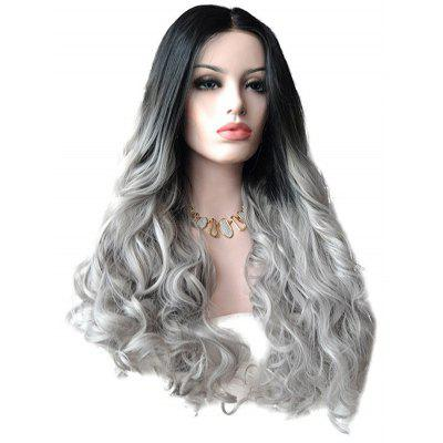 Long Center Parting Ombre Wavy Lace Front Synthetic Wig