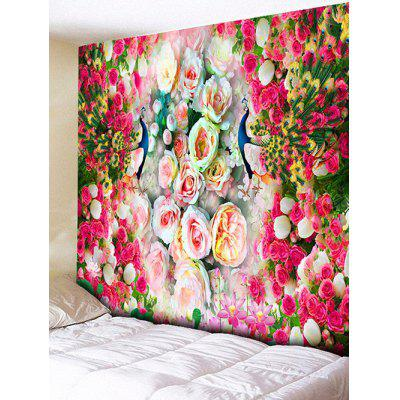Wall Hanging Decoration Peacock Flowers Print Tapestry