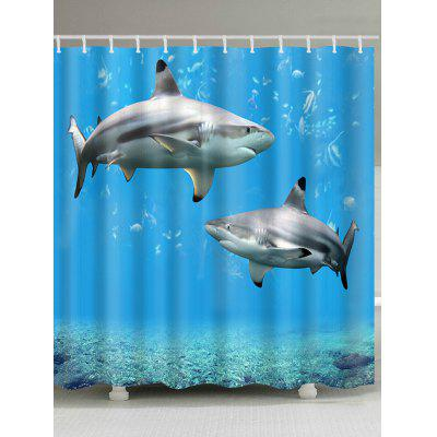 Underwater World Sharks Print Shower Curtain