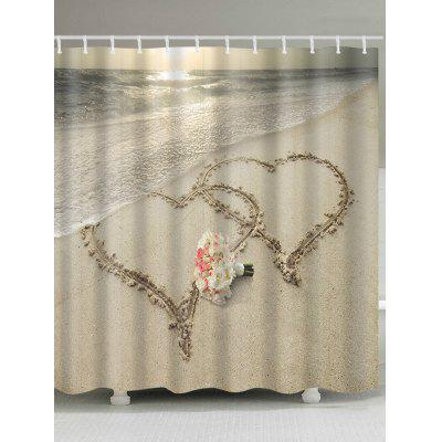 Inscription Heart on Beach Print Bath Shower Curtain