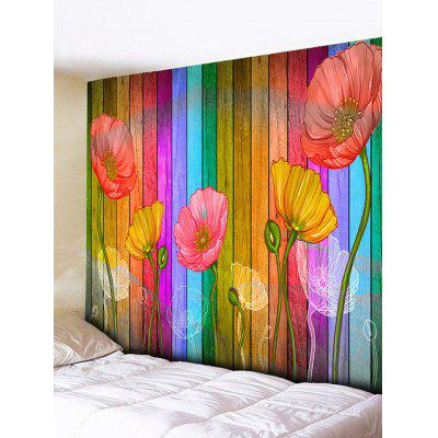 Wall Hanging Decoration Flowers Wood Grain Print Tapestry