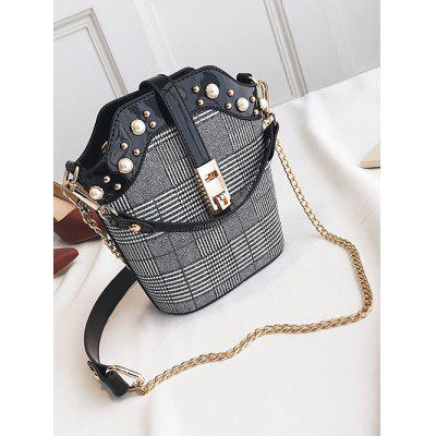 Plaid Faux Pearl Crossbody Bag with Handle faux pearl