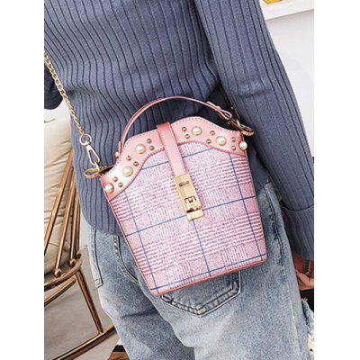 Plaid Faux Pearl Crossbody Bag with Handle faux pearl decoration jeans