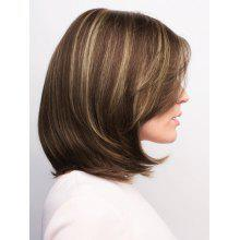Short Side Parting Highlighted Straight Bob Synthetic Wig