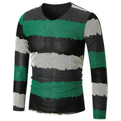 V Neck Color Block Long Sleeve T-shirt
