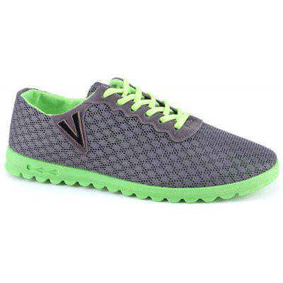 V Print Breathable Lace Up Casual Shoes