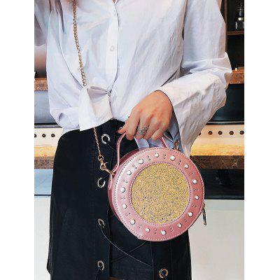 Round Shape Paillette Embellishment Chain Crossbody Bag pineapple shape cut out crossbody bag