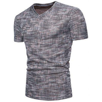 V Neck Knitted T-shirtMens Short Sleeve Tees<br>V Neck Knitted T-shirt<br><br>Collar: V-Neck<br>Material: Cotton, Polyester<br>Package Contents: 1 x T-shirt<br>Pattern Type: Solid<br>Sleeve Length: Short<br>Style: Casual, Fashion<br>Weight: 0.2400kg