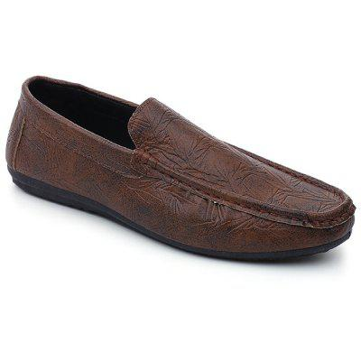 PU Leather Bamboo Print Slip On Shoes
