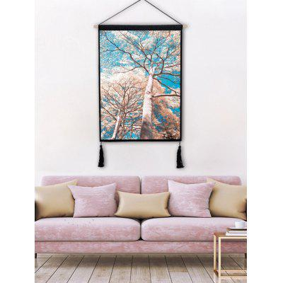 Tassel Decorated Big Tree Printed Wall Hanging Painting