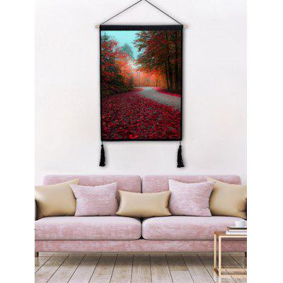 Red Forest Falling Leaves Path Print Tassel Hanging Painting