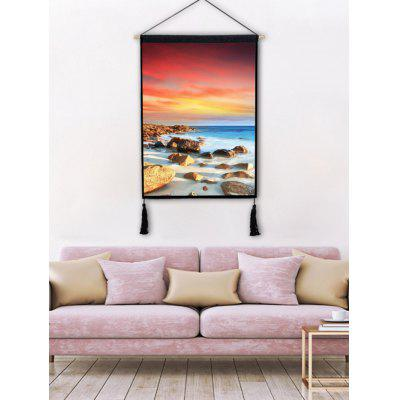 Tassel Decorated Seascape Printed Wall Hanging Painting