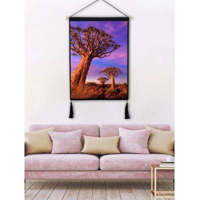 Steppe Trees Printed Tassel Hanging Painting
