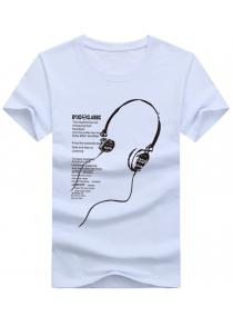 Headset Letter Print Short Sleeve T-shirt