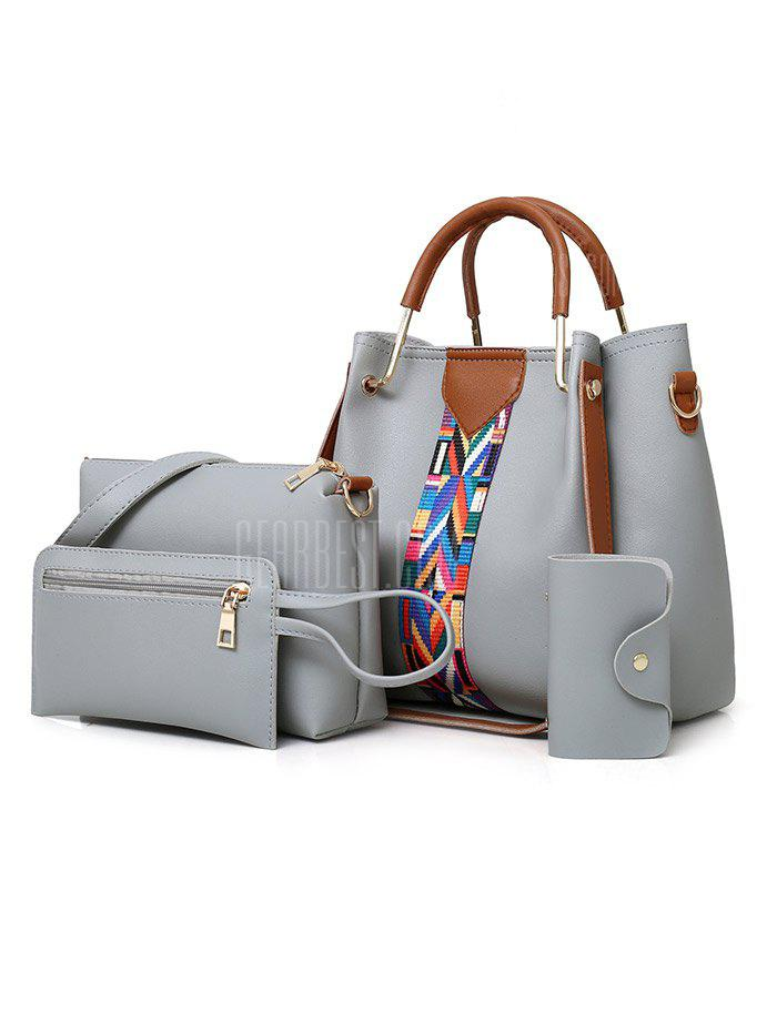 4 Pieces PU Leather Tote Bag Set