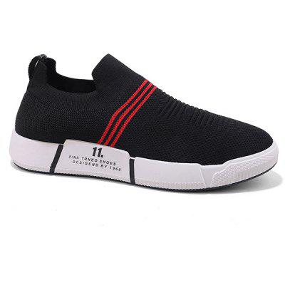 Knitted Fabric Elastic Slip On Striped Casual Shoes