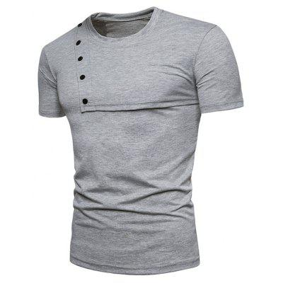 Button Design Solid Color Short Sleeve TeeMens Short Sleeve Tees<br>Button Design Solid Color Short Sleeve Tee<br><br>Collar: Polo Collar<br>Material: Polyester<br>Package Contents: 1 x T-shirt<br>Pattern Type: Solid<br>Sleeve Length: Short<br>Style: Casual<br>Weight: 0.2450kg