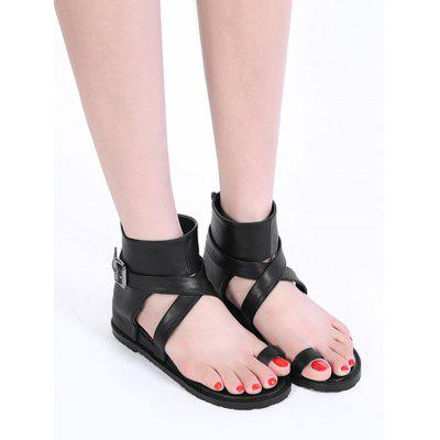 Criss Cross Buckled Embellished Thong SandalsWomens Sandals<br>Criss Cross Buckled Embellished Thong Sandals<br><br>Closure Type: Zip<br>Embellishment: Criss-Cross<br>Gender: For Women<br>Heel Height Range: Flat(0-0.5)<br>Heel Type: Flat Heel<br>Occasion: Casual<br>Package Contents: 1 x Thong Sandals (pair)<br>Pattern Type: Solid<br>Sandals Style: Ankle Strap<br>Shoe Width: Medium(B/M)<br>Style: Leisure<br>Upper Material: PU<br>Weight: 1.1400kg
