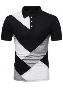 Diagonal Print Panel Color Block Polo T-shirt