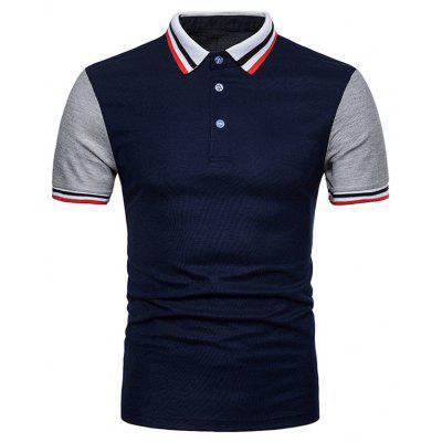 Contrast Color Striped Short Sleeve Polo T-shirt
