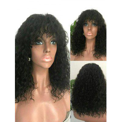Medium Full Bang Fluffy Water Wave Synthetic Wig