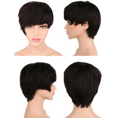 Short Straight Capless Synthetic Wig with Side Bang