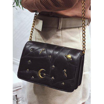 Quilted Rivets PU Leather Crossbody Bag цена