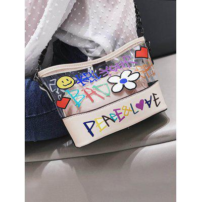 Фото - Transparent Floral Print Shoulder Bag with Small Cosmetic Bag ladsoul 2018 women multifunction makeup organizer bag cosmetic bags large travel storage make up wash lm2136 g