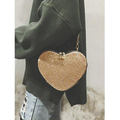 Glitters Heart Shaped Crossbody Bag heart shaped decor star chain bag