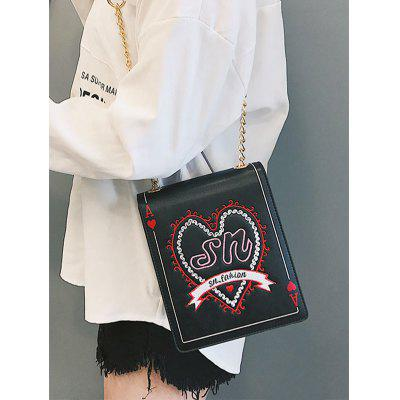 Rectangle Poker Pattern Heart Embroidery Crossbody Bag big rectangle tampo pads