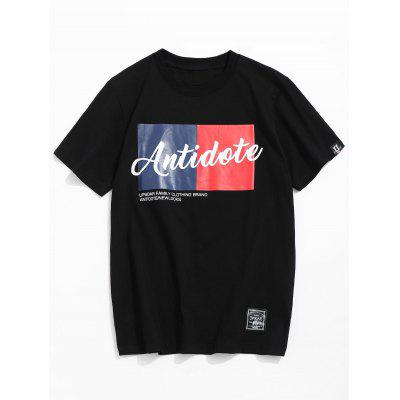 Letter Printed Round Neck Tee